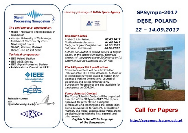 International SPSympo-2017, DĘBE, POLAND, 12 – 14.09.2017 Call for Papers deadline: 8 March 2017
